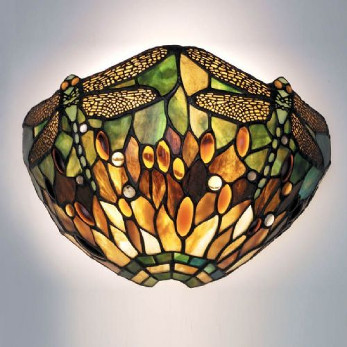 Green Dragonfly Wall Light (Nature, Tiffany Studio, Traditional, Wall Lamp) TP1W (Tiffany style)